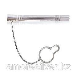 Зажим для галстука Русский альянс серебро с родием, без вставок, классика 70012