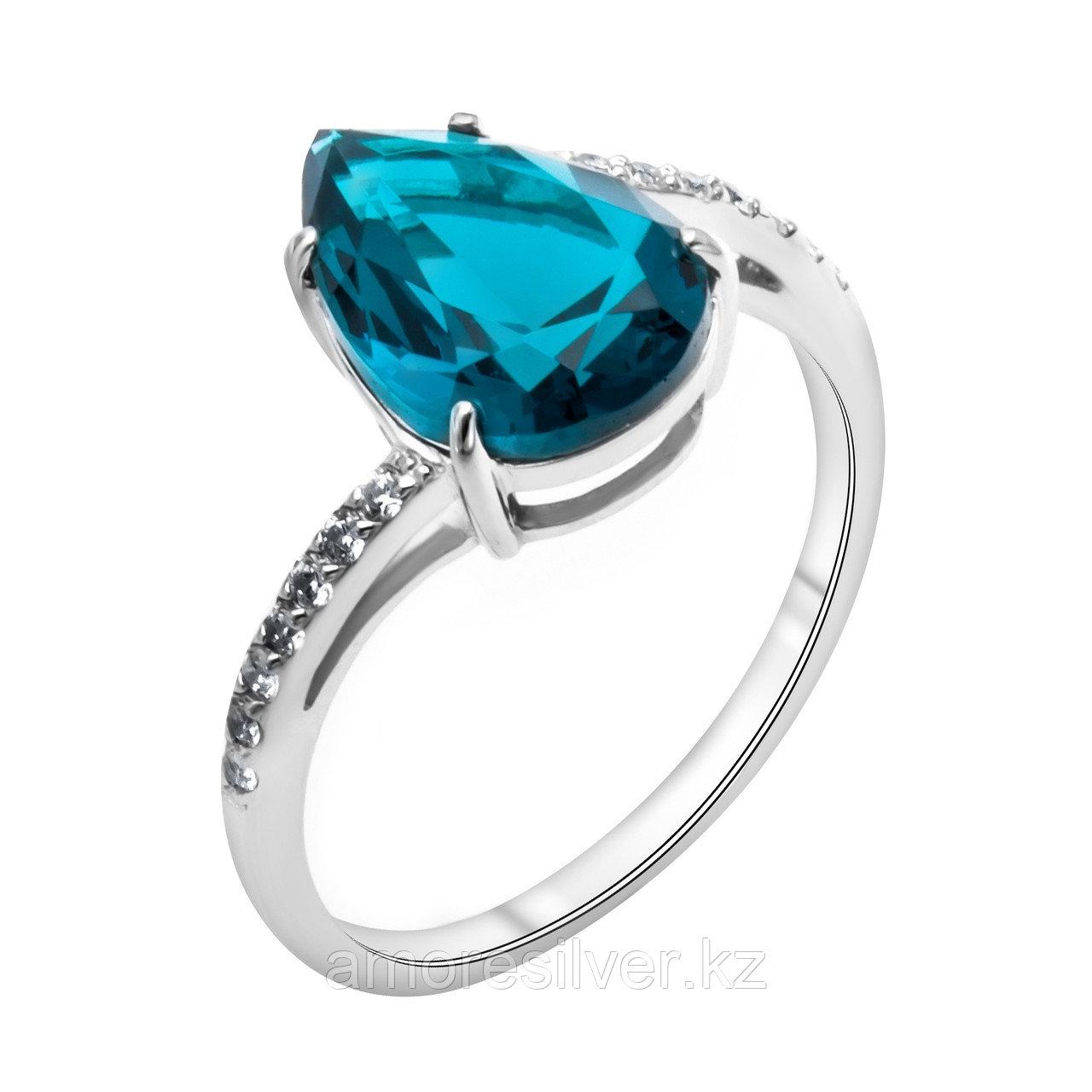 """Кольцо TEOSA серебро с родием, фианит синт., """"halo"""" 100-841-TL размеры - 17,5"""