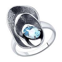 Кольцо SOKOLOV из черненного серебра, топаз 92011983 размеры - 16,5