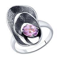 Кольцо SOKOLOV из черненного серебра, аметист 92011984 размеры - 16,5