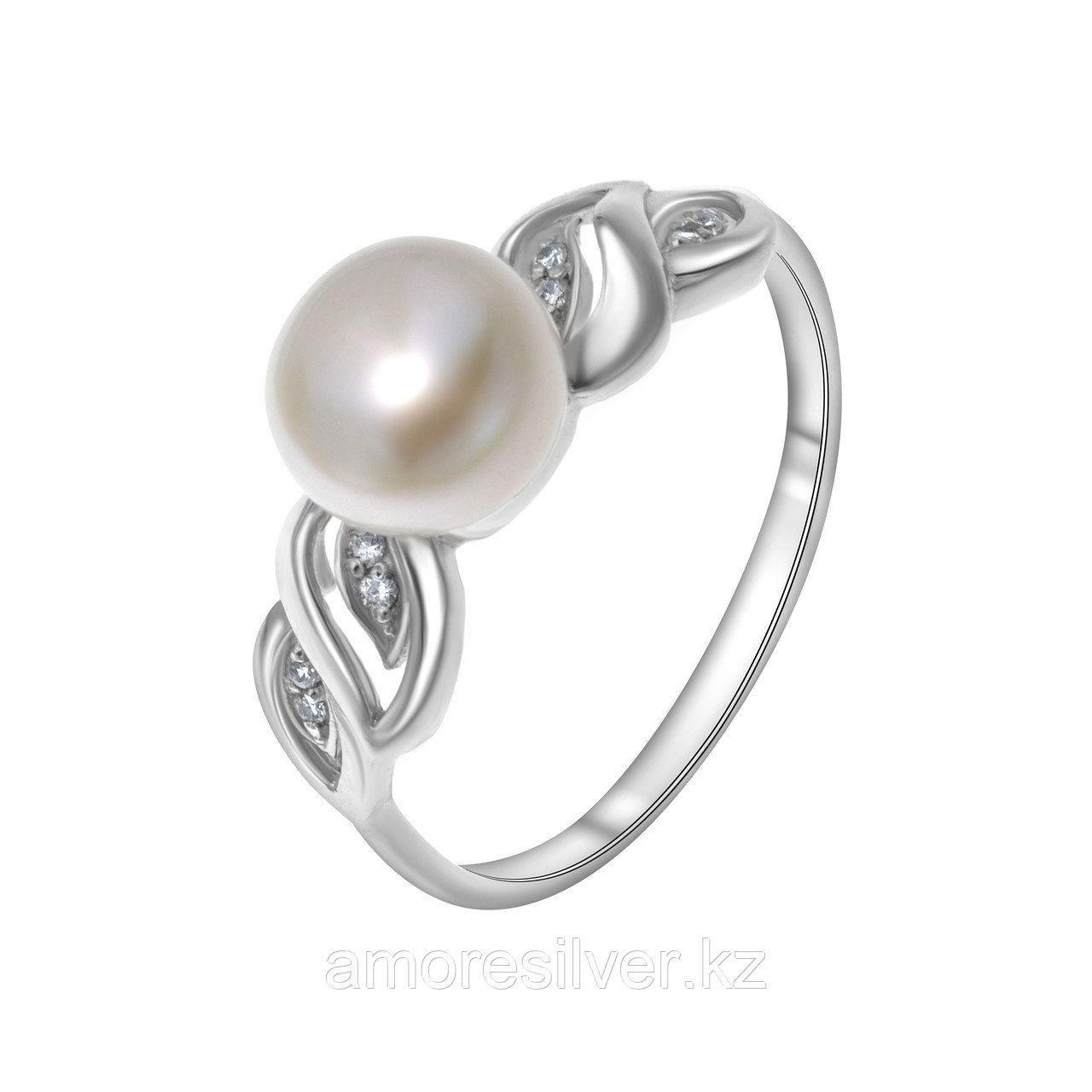 Кольцо TEOSA серебро с родием, жемчуг культ. фианит, ажурное 190-9-792Р размеры - 18