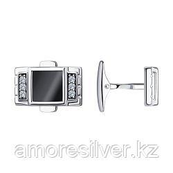 Запонки Diamant (SOKOLOV) серебро с родием, наношпинель  фианит  94-160-00368-1