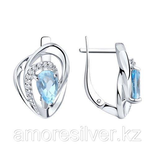 Серьги DIAMANT ( SOKOLOV ) серебро с родием, топаз фианит  94-320-00630-1