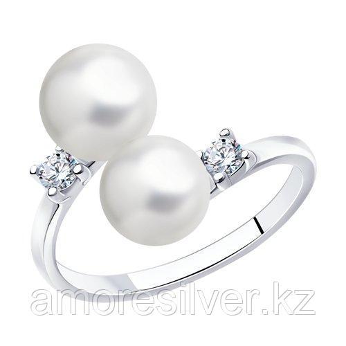 Кольцо DIAMANT ( SOKOLOV ) серебро с родием, фианит  жемчуг синт. 94-110-01101-1 размеры - 16,5 17 17,5 18