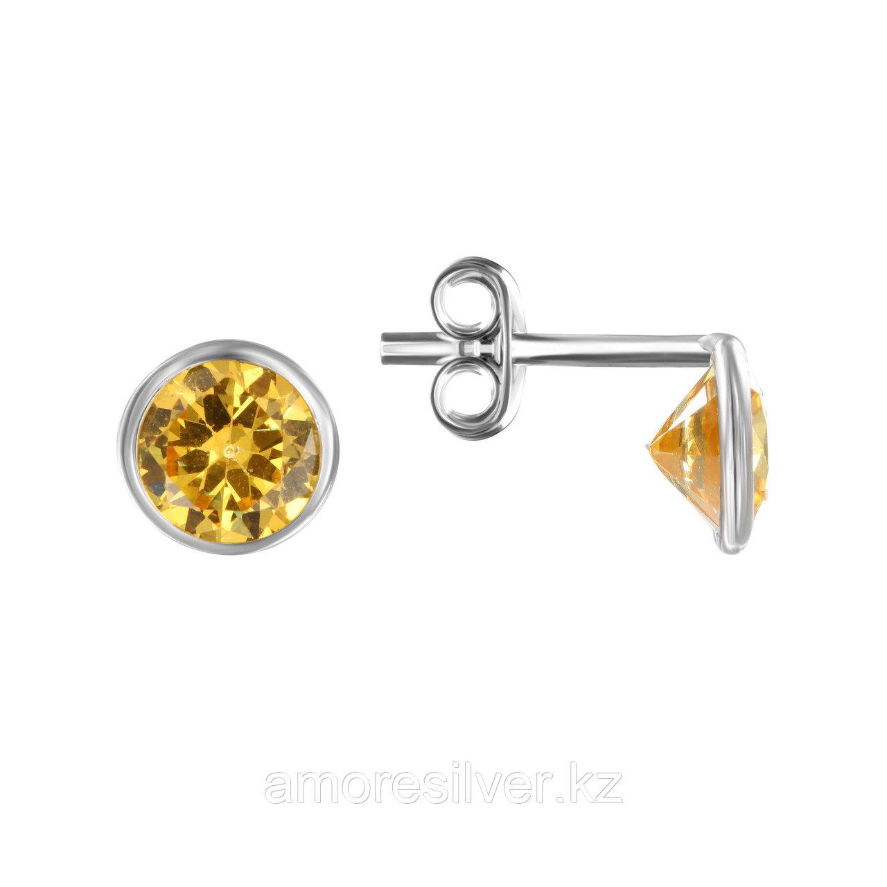 Серьги Аврора-Голд серебро с родием, без вставок с08-1жл