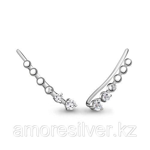 Серьги AQUAMARINE серебро с родием, фианит, каффы, дорожка 45500А.5