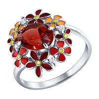 Кольцо SOKOLOV серебро с родием, гранат фианит эмаль, флора 92010245 размеры - 16,5
