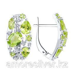 Серьги SOKOLOV серебро с родием, хризолит фианит  92020364