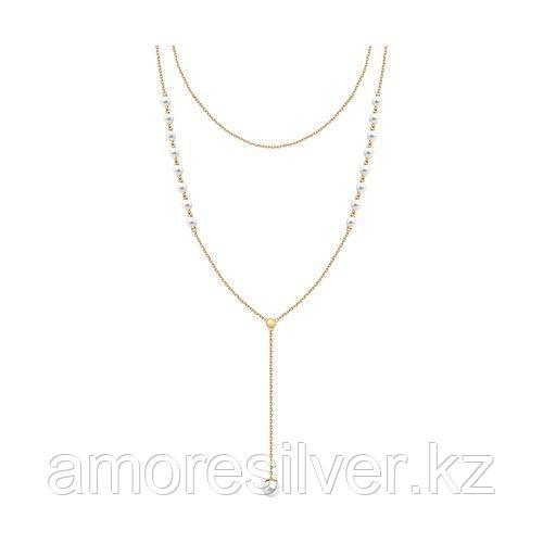 Колье SOKOLOV серебро с позолотой, жемчуг swarovski синт.  93070014