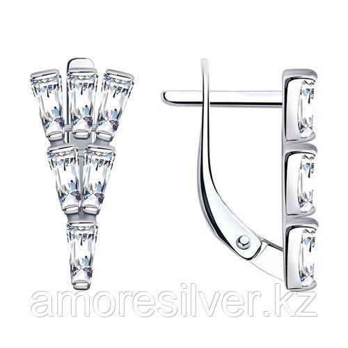 Серьги SOKOLOV серебро с родием, фианит  94023760