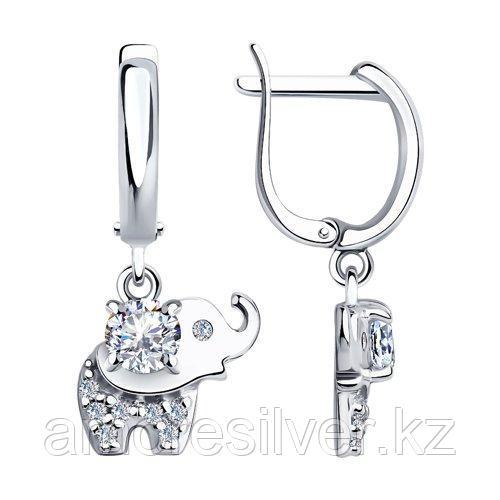 Серьги SOKOLOV серебро с родием, фианит  94023905