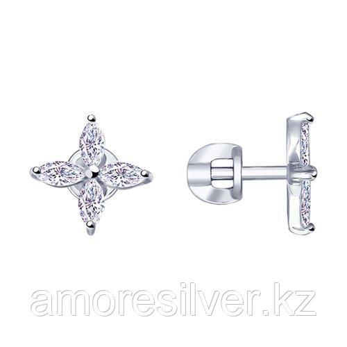 Серьги SOKOLOV серебро с родием, фианит  94023053