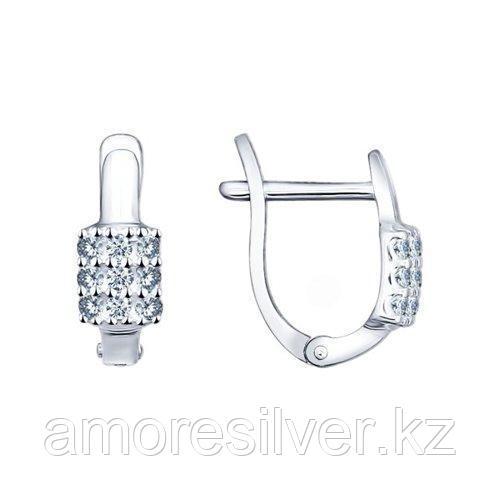 Серьги SOKOLOV серебро с родием, фианит 94021750