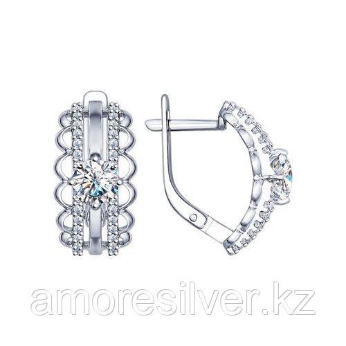 Серьги SOKOLOV серебро с родием, фианит  94022382