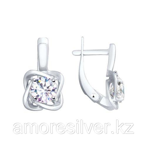 Серьги SOKOLOV серебро с родием, фианит  94023012