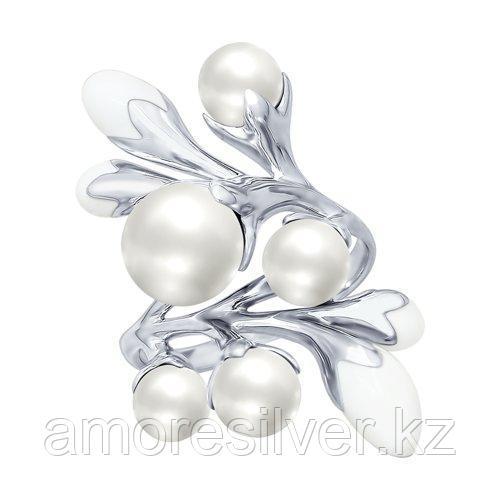 Кольцо SOKOLOV серебро с родием, эмаль жемчуг синт. 94012452