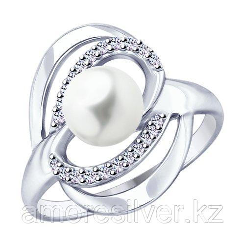 Кольцо SOKOLOV серебро с родием, фианит  жемчуг синт. 94012822