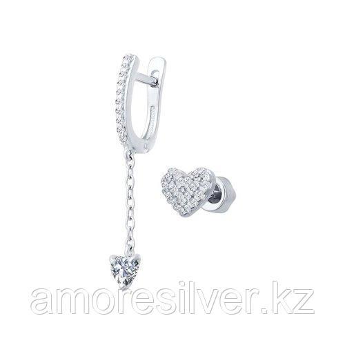 Серьги SOKOLOV серебро с родием, фианит  94021851