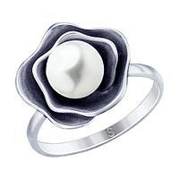 Кольцо SOKOLOV из черненного серебра, жемчуг синт. 95010125 размеры - 16,5 20