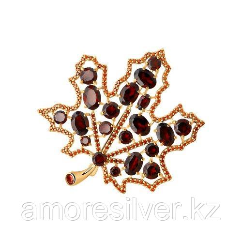 Брошь SOKOLOV серебро с позолотой, гранат фианит  92040100