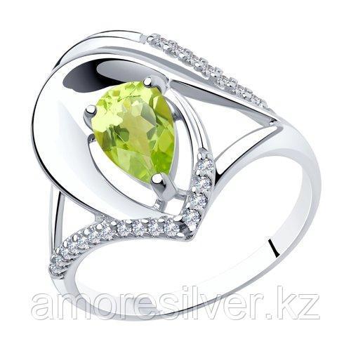 Кольцо DIAMANT ( SOKOLOV ) серебро с родием, хризолит фианит  94-310-00607-1 размеры - 18,5