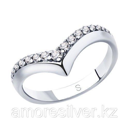 Кольцо SOKOLOV серебро с родием, фианит , дорожка 94012894 размеры - 18