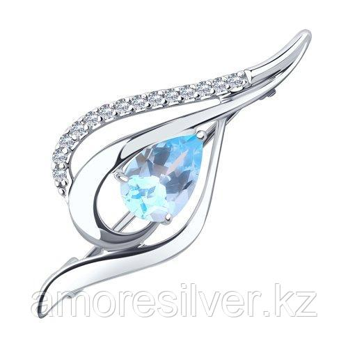 "Брошь DIAMANT ( SOKOLOV ) серебро с родием, топаз фианит , ""halo"" 94-340-01045-1"