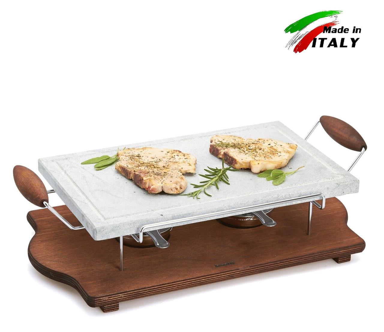 Каменная жарочная поверхность-гриль камень Hot Stone Grill Bisetti 99024 для жарки мяса овощей дома, ресторане