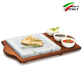 Каменная сковорода гриль Hot Stone Grill Bisetti 99051 мыльный камень, жарка овощей мяса в баре кафе ресторане