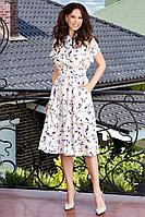 Женское летнее шифоновое белое большого размера платье Teffi Style L-1550 маки_на_молочном 46р.