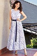 Женское летнее шифоновое синее большого размера платье Teffi Style L-1566 синяя__волна_на_молочном 48р.