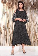 Женское летнее из вискозы нарядное большого размера платье Faufilure С1062 горох 54р.