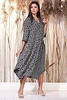 Женское осеннее из вискозы большого размера платье Faufilure С1146 цветы 52р.