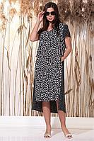 Женское осеннее из вискозы платье Faufilure С1151 цветы 50р.