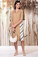 Женское летнее льняное большого размера платье Faufilure С1158 кэмел 52р.