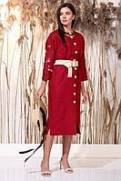 Женское летнее льняное красное нарядное платье Faufilure С1162 красный 48р.