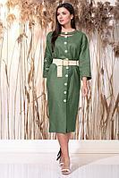 Женское летнее льняное зеленое нарядное платье Faufilure С1162 хаки 48р.