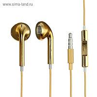 Наушники LuazON RX-13, вкладыши, микрофон, золотистые
