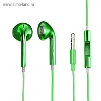 Наушники LuazON RX-13, вкладыши, микрофон, зелёные