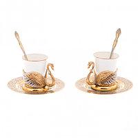 """Кофейный набор """"Белый лебедь"""" на 2 персоны 80 мл фарфор в подарочной коробке Златоуст"""