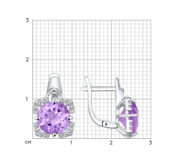 Комплект с аметистом и фианитом / серебро - фото 2