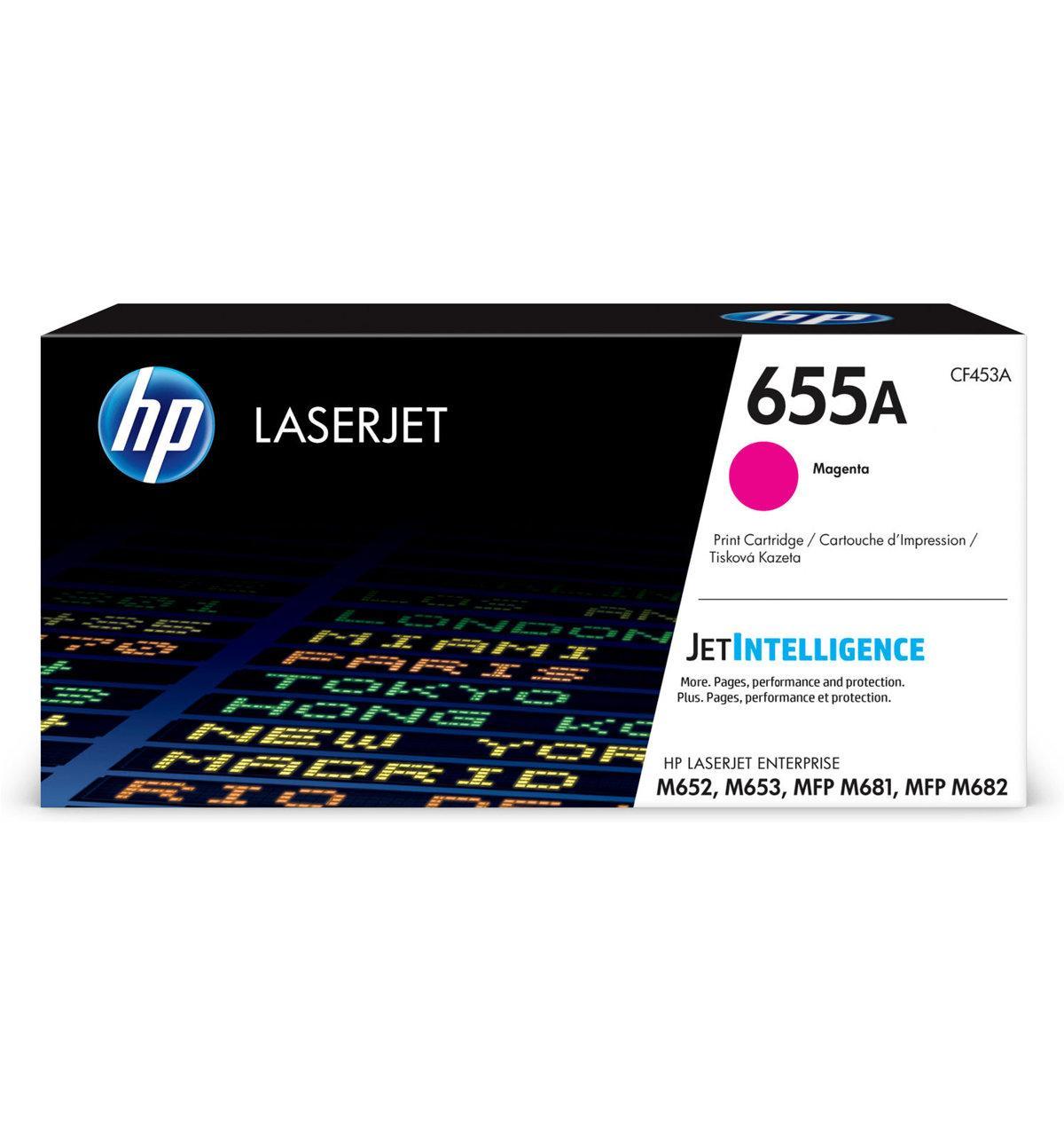 HP CF453A 655A Magenta LaserJet Toner Cartridge for Color LaserJet M652/M653/M681/M682, up to 10500 pages