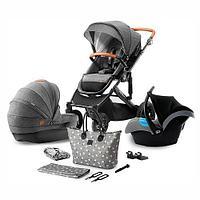 Коляска 3в1 Kinderkraft PRIME Grey + сумка для мамы