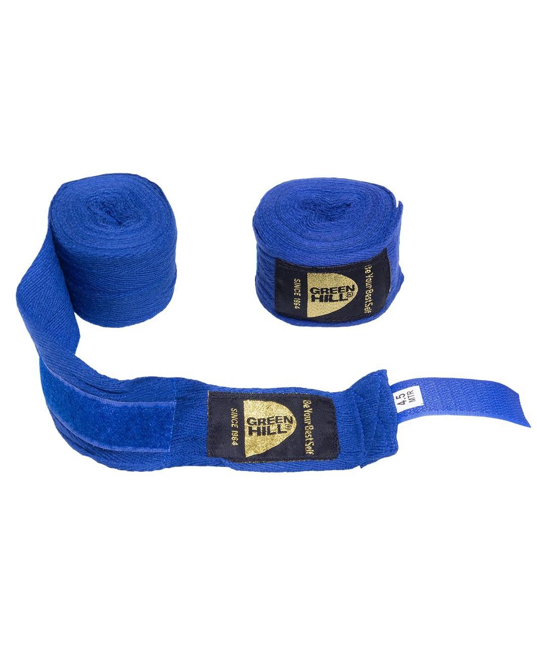 Бинт боксерский BP-6232d, 4,5м, эластик, синий Green Hill