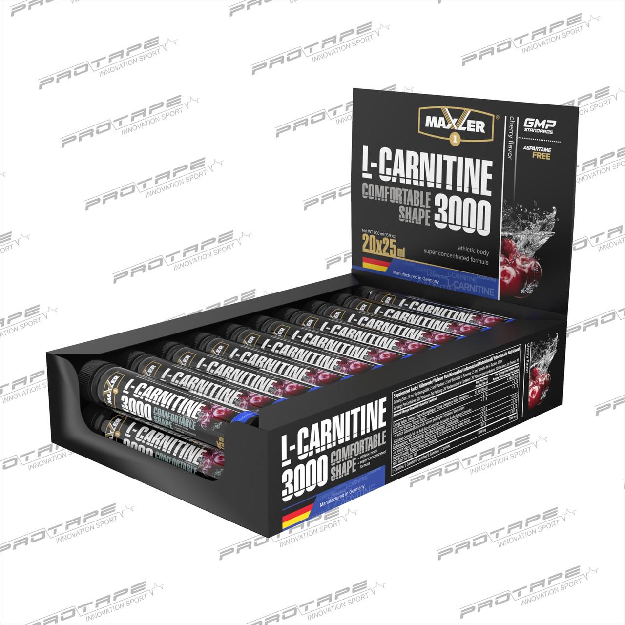 L-карнитин Maxler L-Carnitin 3000, 25 х 20 ампул.