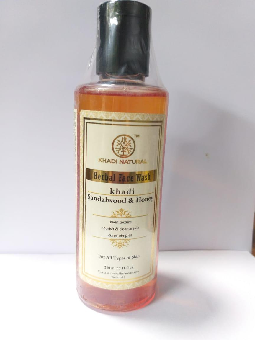 Гель для умывания лица Сандал и Мед KHADI (Sandalwood & Honey), 210 мл , увлажняющий