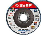 Круг шлифовальный лепестковый ЗУБР 36595-115-60, ЭКСПЕРТ, веерный, тип КЛТ 1, зерно-электрокорунд циркониевый,
