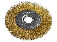 Щетка крацовка дисковая для УШМ STAYER 35122-125, PROFESSIONAL, витая стальная латунированная проволока 0,3