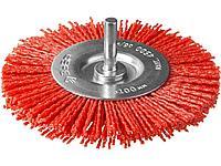 Щетка крацовка дисковая для дрели ЗУБР 35161-100_z02, ПРОФЕССИОНАЛ, нейлоновая проволока с абразивным