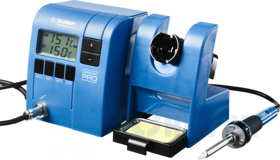 """Паяльная станция ЗУБР """"ПРОФИ"""" цифровая с ЖК дисплеем, керамический нагреватель, диапазон 150-450°C, 48Вт, ( - фото 1"""